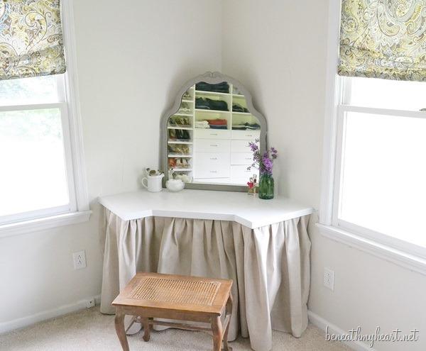 DIY corner wall-mounted vanity  (via beneathmyheart)