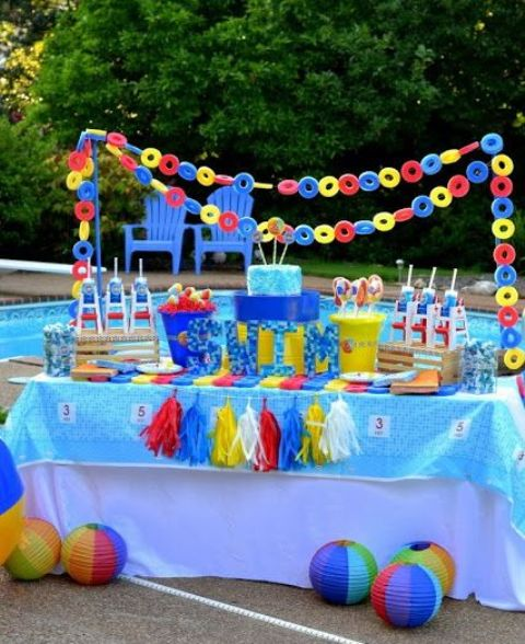 a pool noodle garland and paper lanterns imitating beach balls