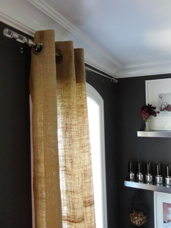 burlap curtain for a modern interior