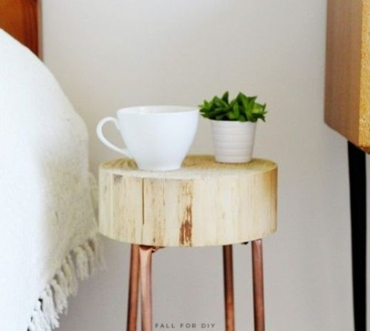copper pipe and wood slice nightstand