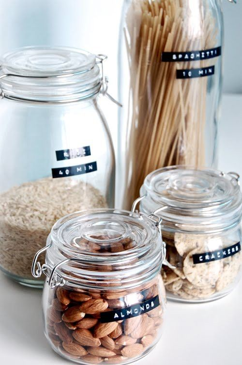 food containers with labels from IKEA jars