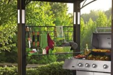 02 metal gazebo with lights, shelves and grids for hanging