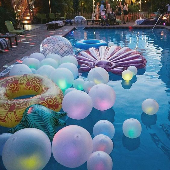 balloons with lights inside and floats