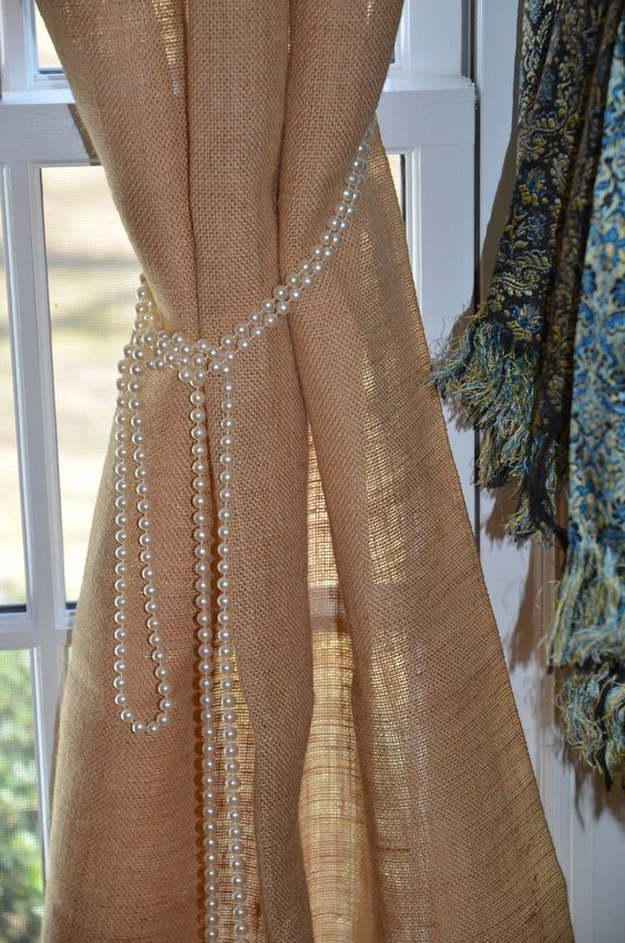 burlap curtains with a pearl holder