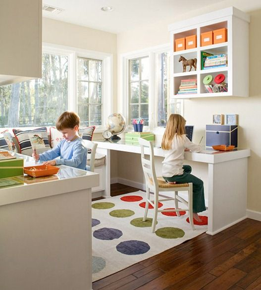 colorful floor and accessories make this nook more attractive for kids