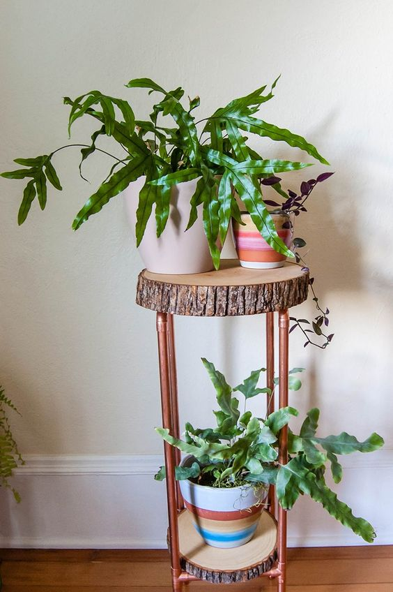 copper pipe and wooden slices plant stand