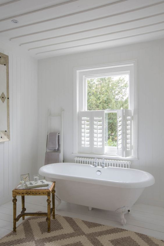 half window shutters to keep your bath experience private - Bathroom Window