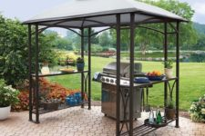 03 metal gazebo with shelves on the sides