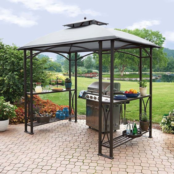 metal gazebo with shelves on the sides