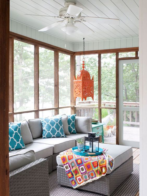 screened porch with lively colorful decor - Porch Decor