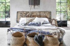 baskets in a bedroom