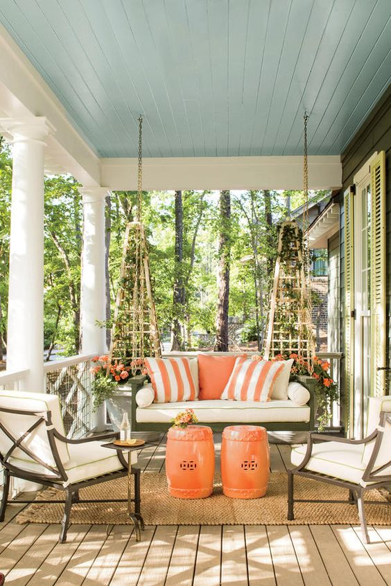 04 Colorful Wraparound Porch With Bold Accents