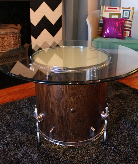Inspirational drum turned into a coffee table
