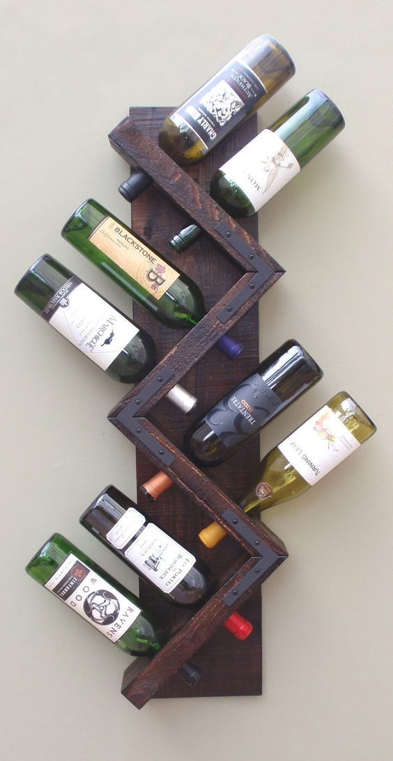 industrial wall wine rack for 8 bottles