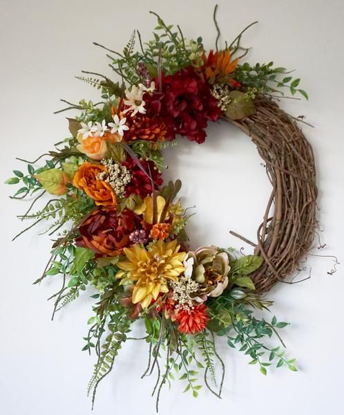 rustic grapevine wreath with high quality silk flowers