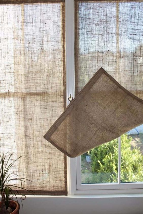 window screens made of burlap