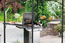 05 blackened steel grill gazebo with two metal shelves