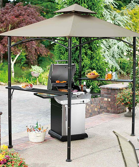 blackened steel grill gazebo with two metal shelves