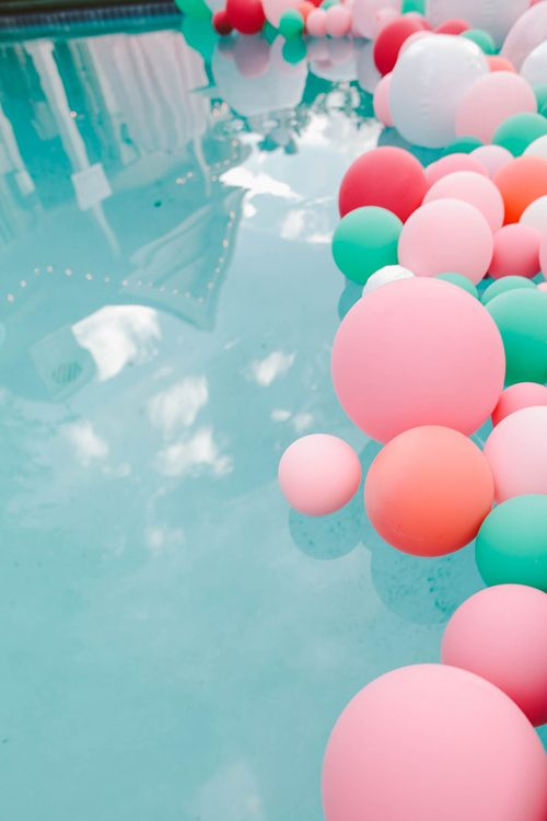 colorful balloons for pool decor