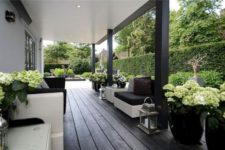 05 deep dark decking with beautiful hydrangeas in planters and a green backdrop