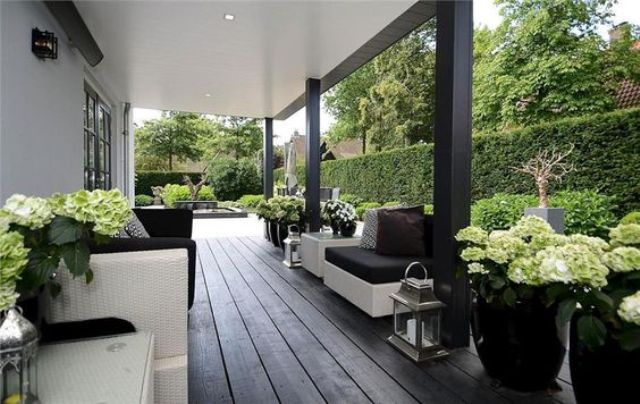Deep Dark Decking With Beautiful Hydrangeas In Planters And A Green Backdrop