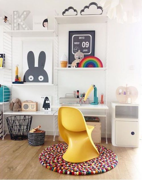 modern study space with colorful accessories and touches