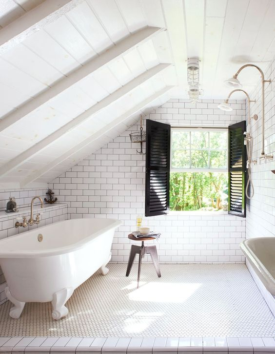 black shutters perfectly accentuate subway tiles in this cool attic bathroom - Bathroom Window Treatments