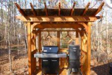 06 cedar pergola grill area with plexiglass roof
