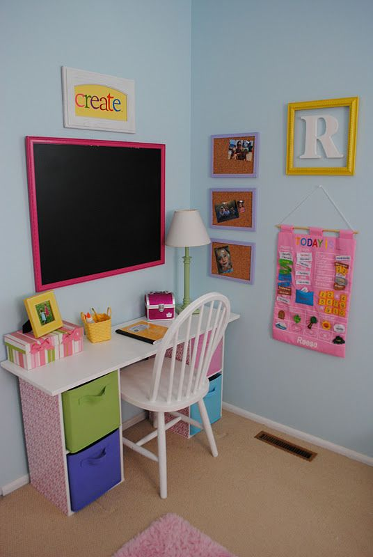 colorful fun study and art nook for a little girl