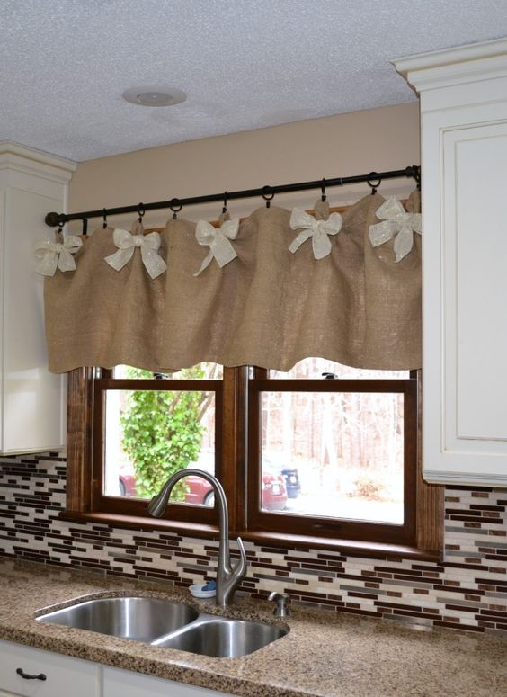 kitchen valances with white bows