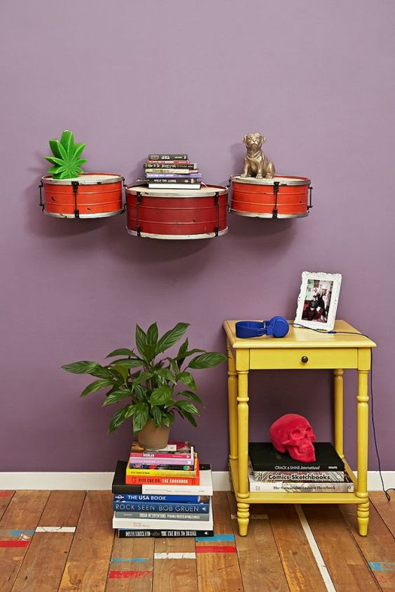 Old Drums As Wall Mounted Shelves