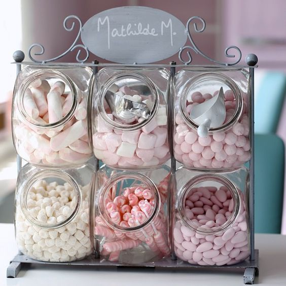 sweets storage using IKEA jars and a metal stand