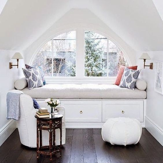 upholstered bench as a dreamy nook to relax