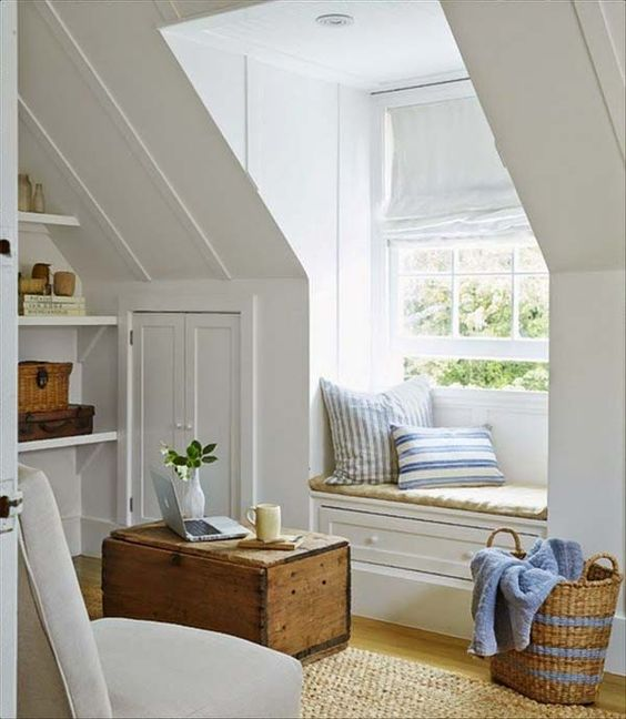attic window seat and reading nook