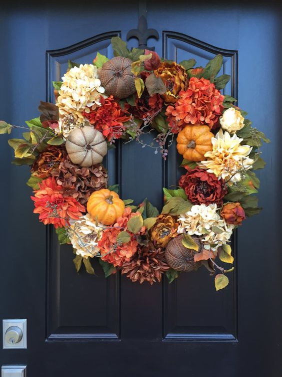 burlap pumpkins and silk flowers wreath for fall