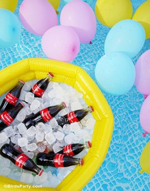 drinks in ice placed into a pool float