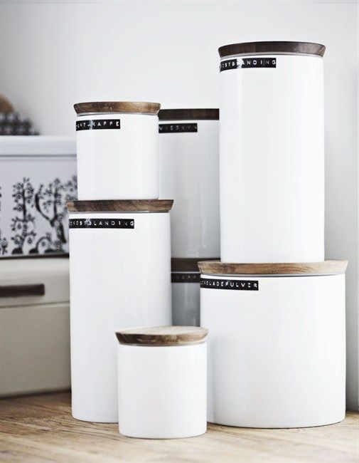 monochrome kitchen jars for flour and nuts