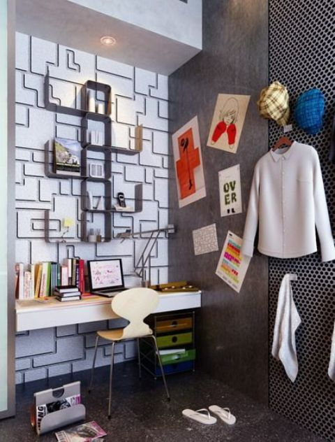 teen study nook with geometric decor