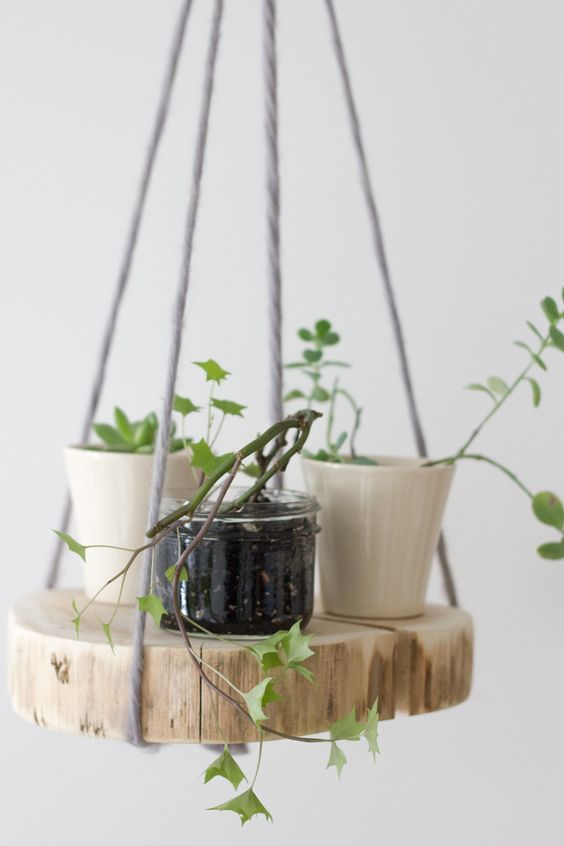 07 wood shelf plant hanger
