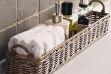 08 long wicker basket for storing bathroom supplies