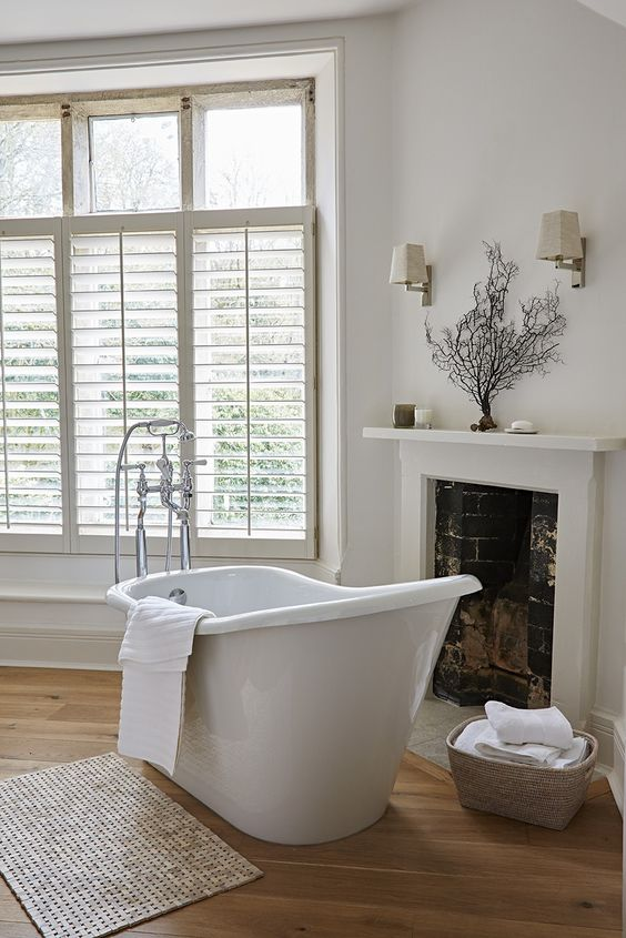 part blinders as a simple window treatment - Bathroom Window Treatments