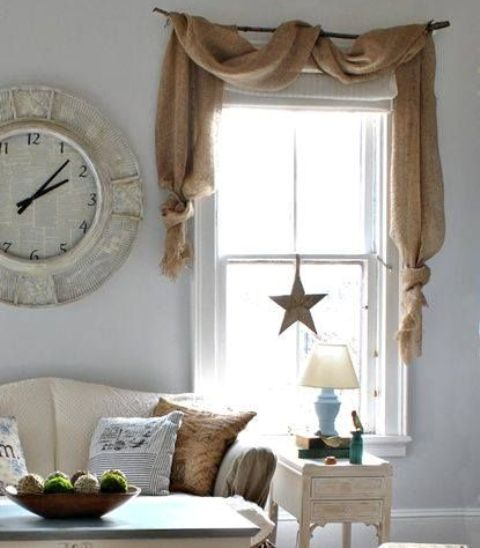 shabby chic decor with a burlap window cover