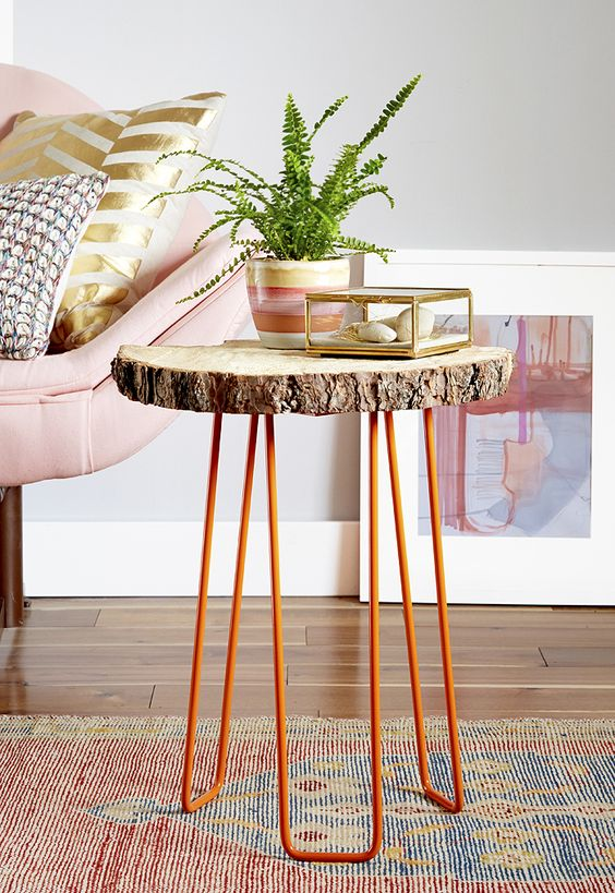slice side table on orange hairpin legs