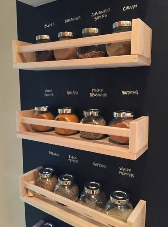 spice racks on a chalkboard wall for organizing