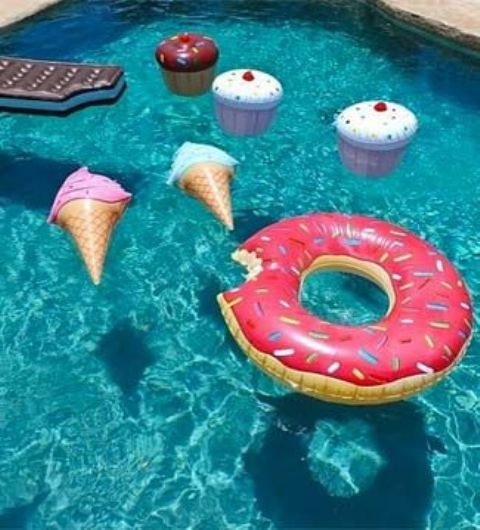 donut, ice-cream and cupcake pool floats