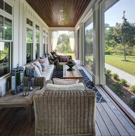 long and narrow screened-in porch