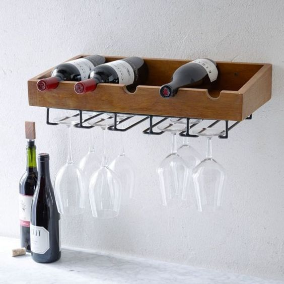 simple wine shelf with glass holders