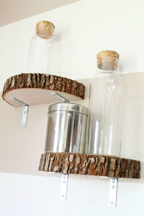 simple wood log slice shelves