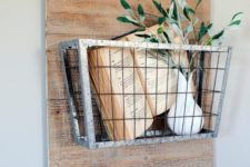 09 vintage wire basket as a wall-mounted shelf
