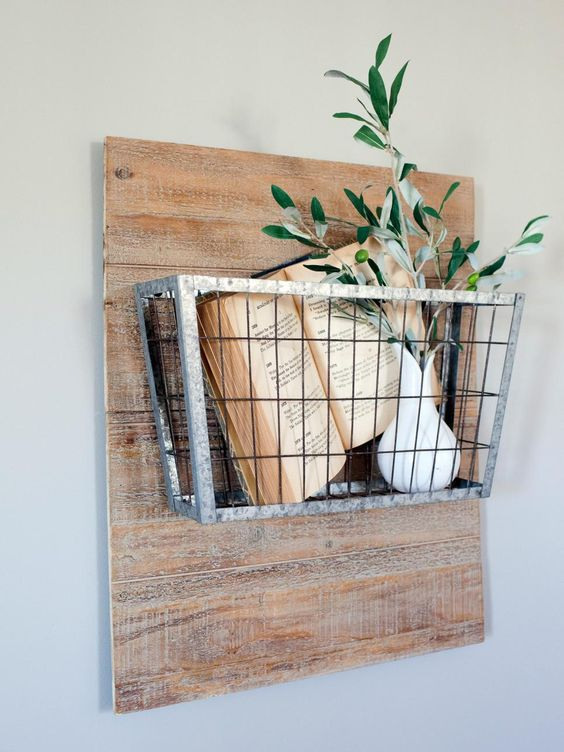 vintage wire basket as a wall-mounted shelf